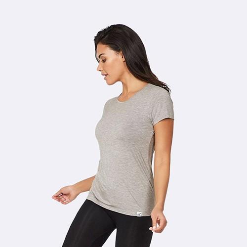 59ecf5b29e7 T-Shirt Dame lys grå rund hals - Small - Organic Bamboo Eco Wear